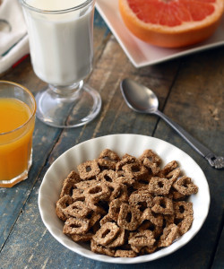 Cereal with milk and juice for breakfast