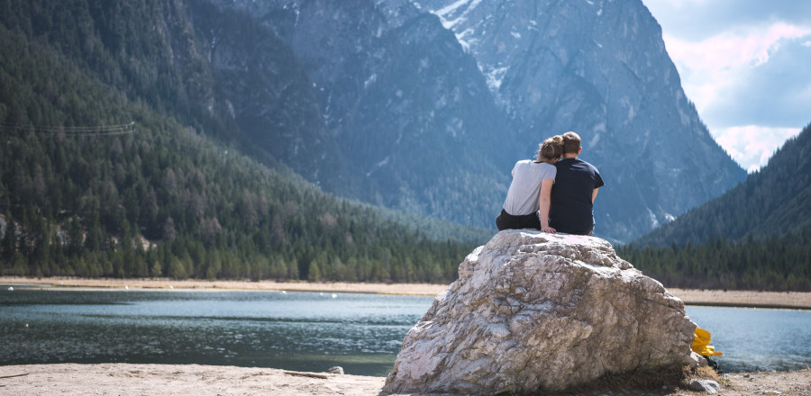 Romantic couple by a lake