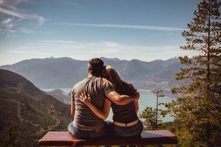 Couple checking view of nature