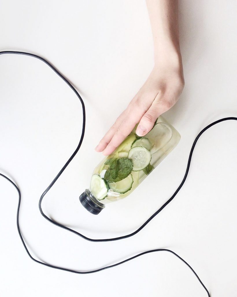 A bottled of infused water for detox