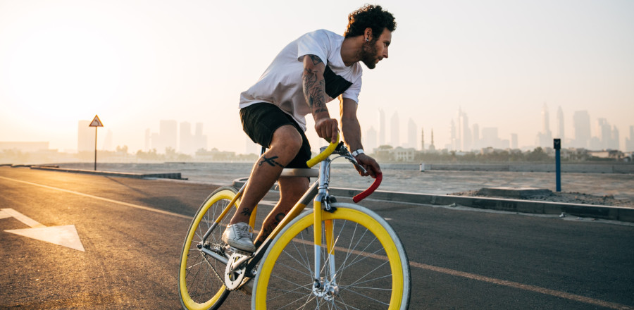 Fit cyclist on an open road