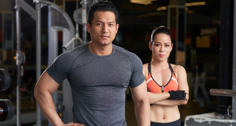 Fitness trainers in a gym