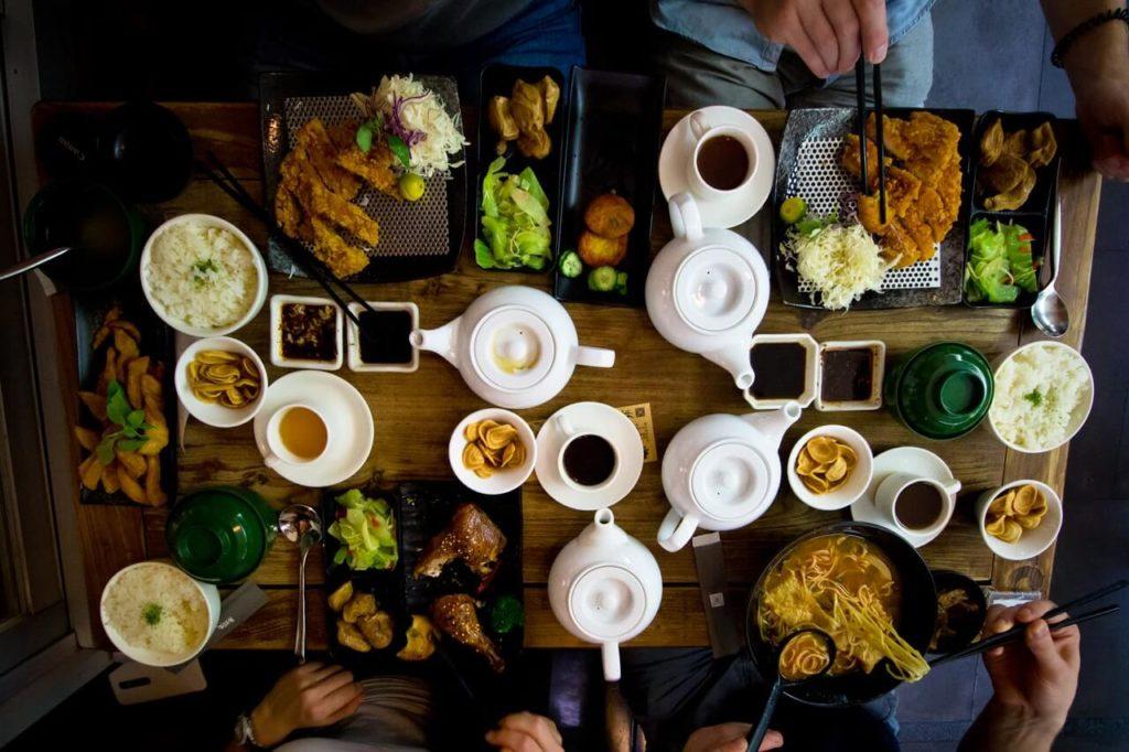 Food feast on the table