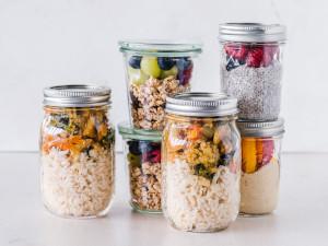 Various grains in jars