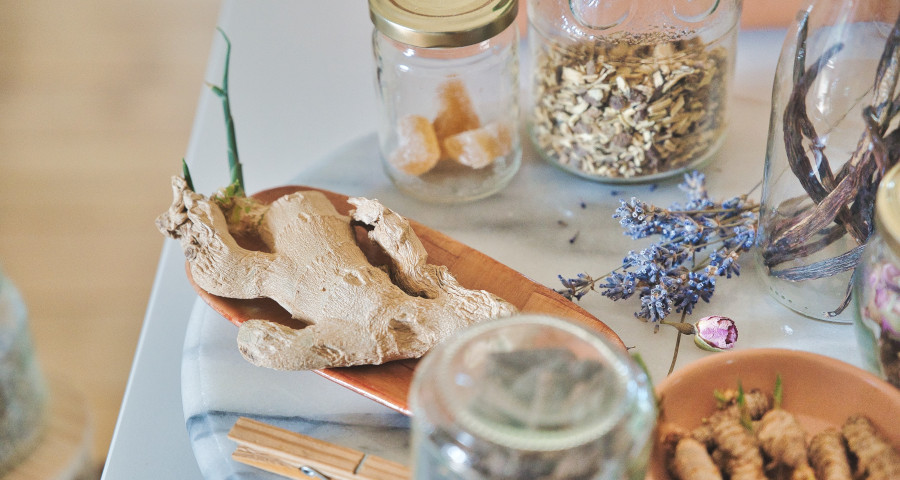 Various herbs on a table