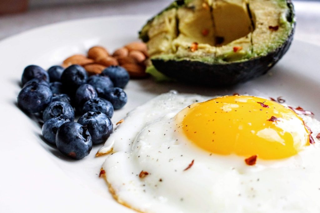 Egg avocado and nuts for breakfast