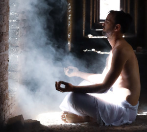 Monk fasting and meditating