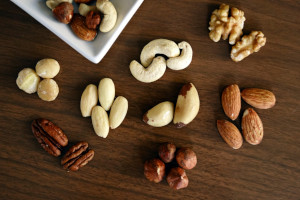 Various nuts on a surface