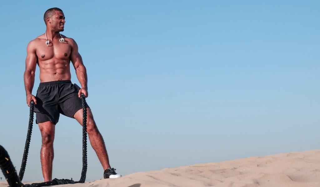 Man on outdoor weight training