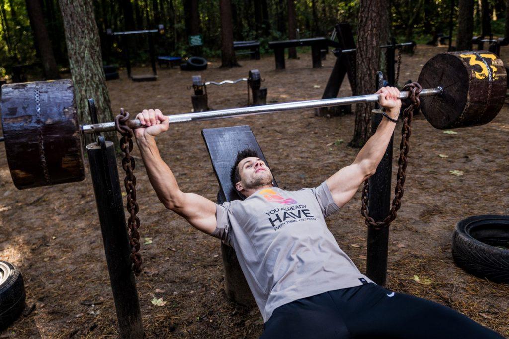 Man on weight training