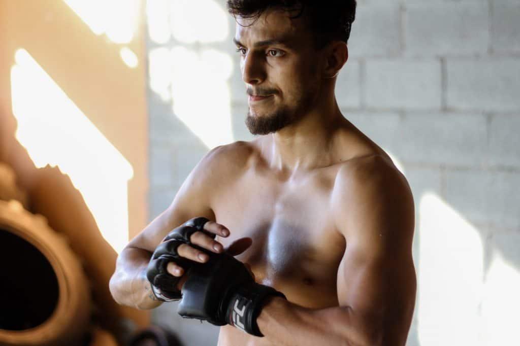 Man preparing for boxing training