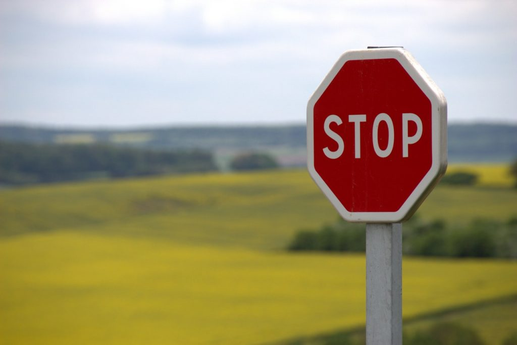 A stop sign in the field