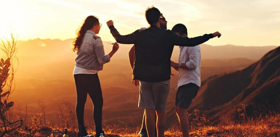 People during sunrise