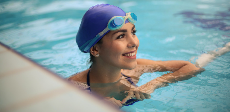 Athletic swimmer in a pool