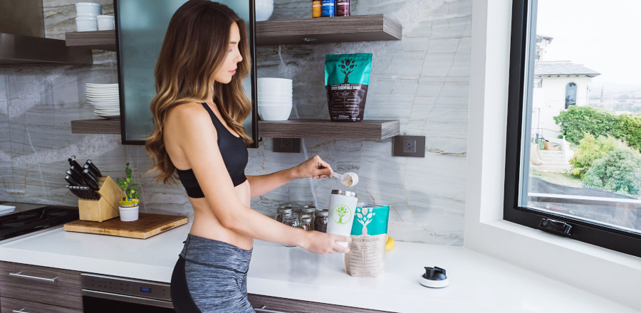 Fit woman preparing a snack