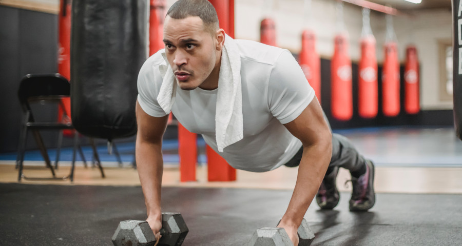 Man doing workout at the gym